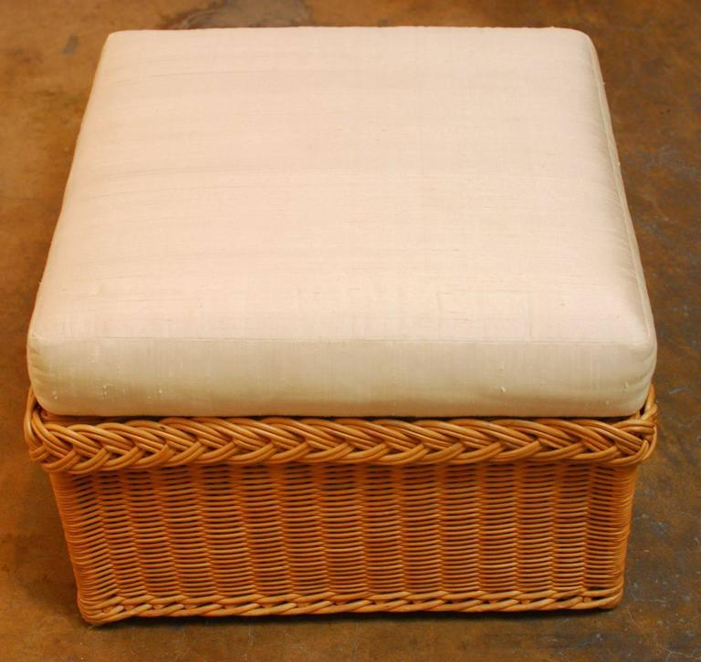 italian braided wicker rattan lounge chairs and ottoman at 1stdibs. Black Bedroom Furniture Sets. Home Design Ideas