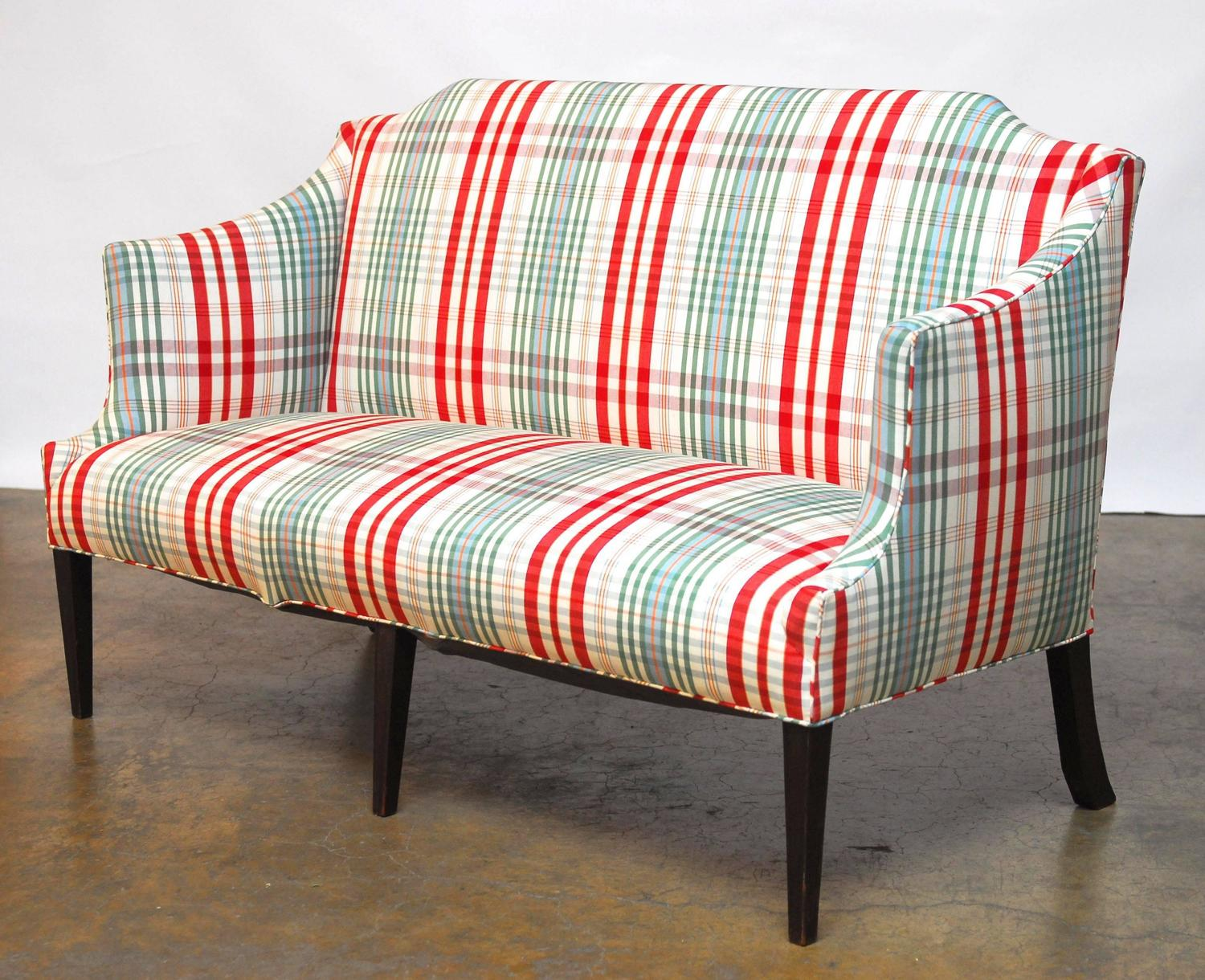 Modern Sheraton Style Plaid Settee Sofa At 1stdibs