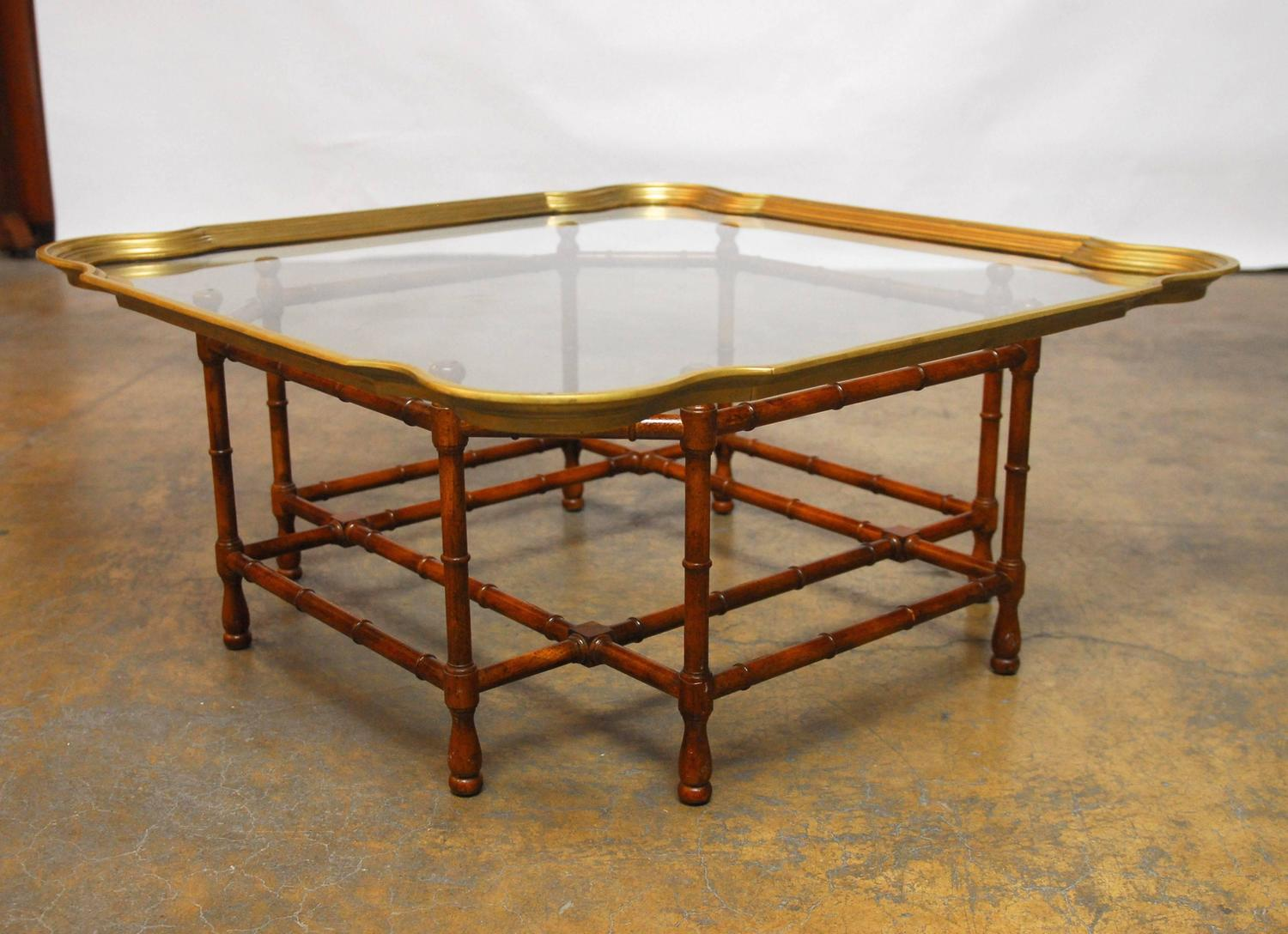 Baker Bamboo And Brass Tray Top Coffee Table At 1stdibs