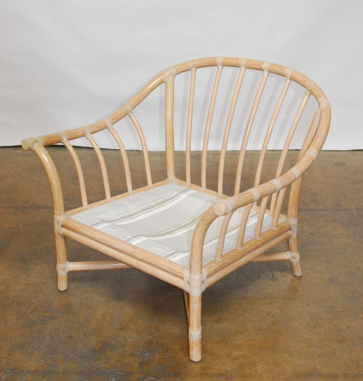 Fabulous Set Of Bamboo Armchairs Featuring A Barrel Back Horseshoe Shape With Large Oversized Arms
