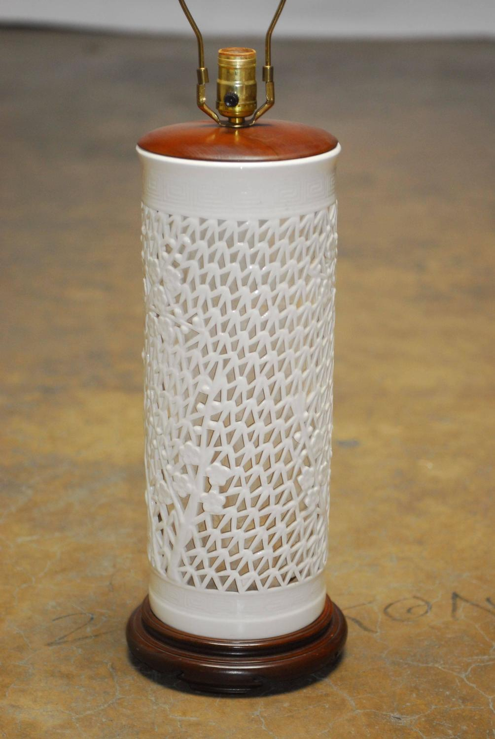 Blanc De Chine Reticulated Porcelain Table Lamp At 1stdibs