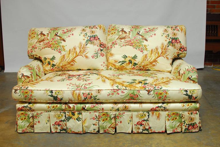 French Brunschwig Fils Pheasant Toile Sofa In Excellent Condition For Oakland Ca