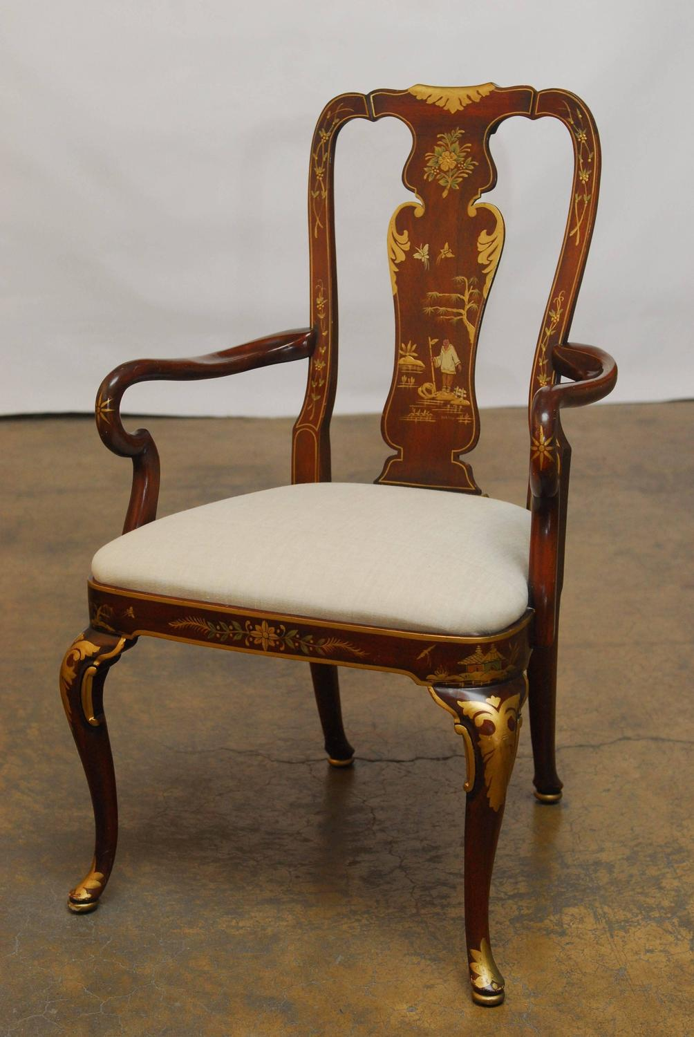 set of seven chinoiserie queen anne dining chairs at 1stdibs