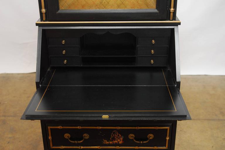 Black Lacquer Chinoiserie Secretary Bookcase 2