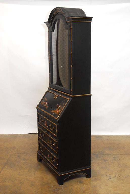 Black Lacquer Chinoiserie Secretary Bookcase At 1stdibs