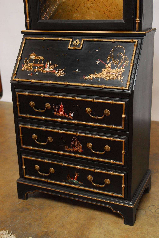 Black Lacquer Chinoiserie Secretary Bookcase For Sale At