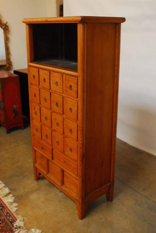 Ming Chinese Elm Apothecary Display Cabinet For Sale