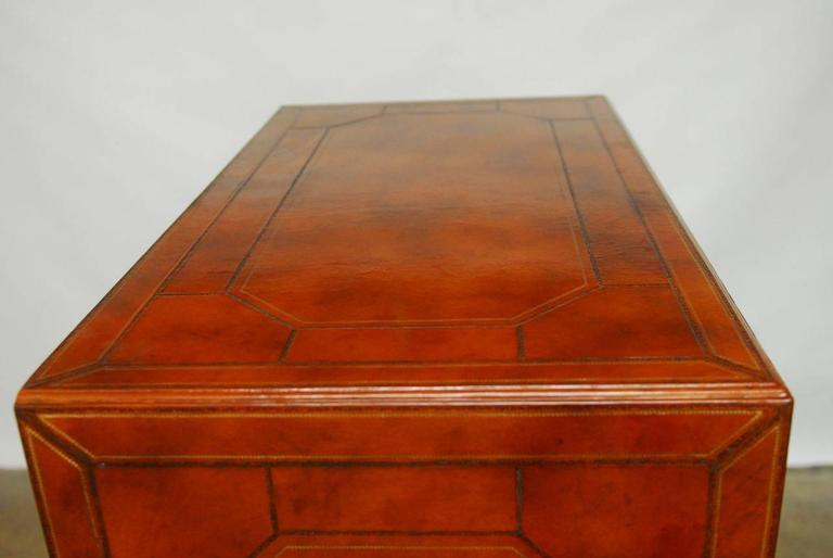 Maitland Smith Tooled Leather Wrapped Armoire Cabinet At 1stdibs
