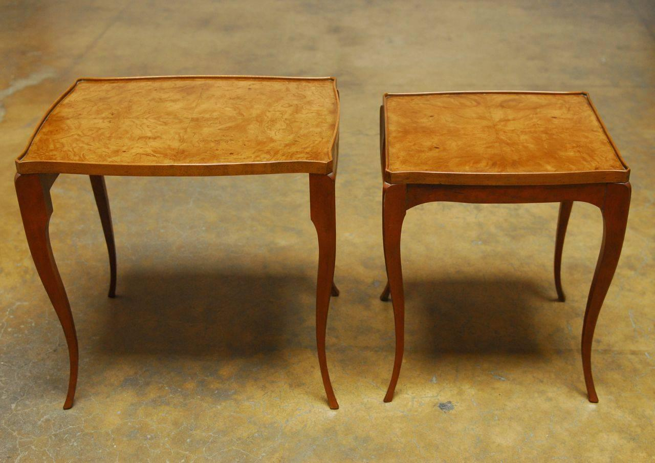 Set Of Two Burl Wood Nesting Tables By Baker For Sale At 1stdibs. Full resolution  portraiture, nominally Width 1280 Height 904 pixels, portraiture with #673B14.