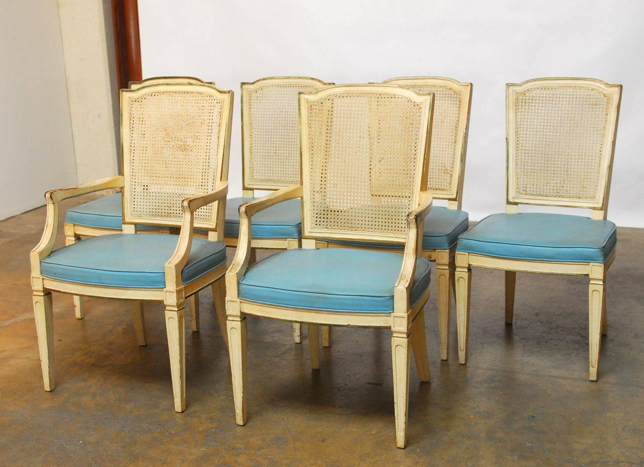 set of six louis xvi style cane dining chairs by henredon at 1stdibs