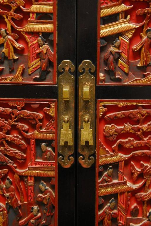 Chinese Lacquer Cabinet With Shrine Panel Doors At 1stdibs