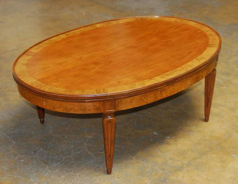 French Style Oval Coffee Table By Baker For Sale At 1stdibs