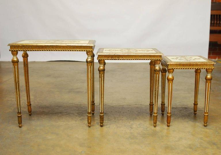 Hollywood Regency Set of Three Florentine Nesting Tables