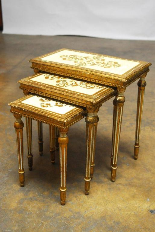 Italian Set of Three Florentine Nesting Tables