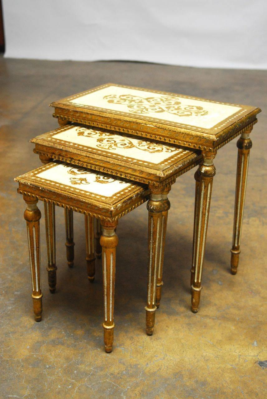 Set of three florentine nesting tables at 1stdibs for Table th means