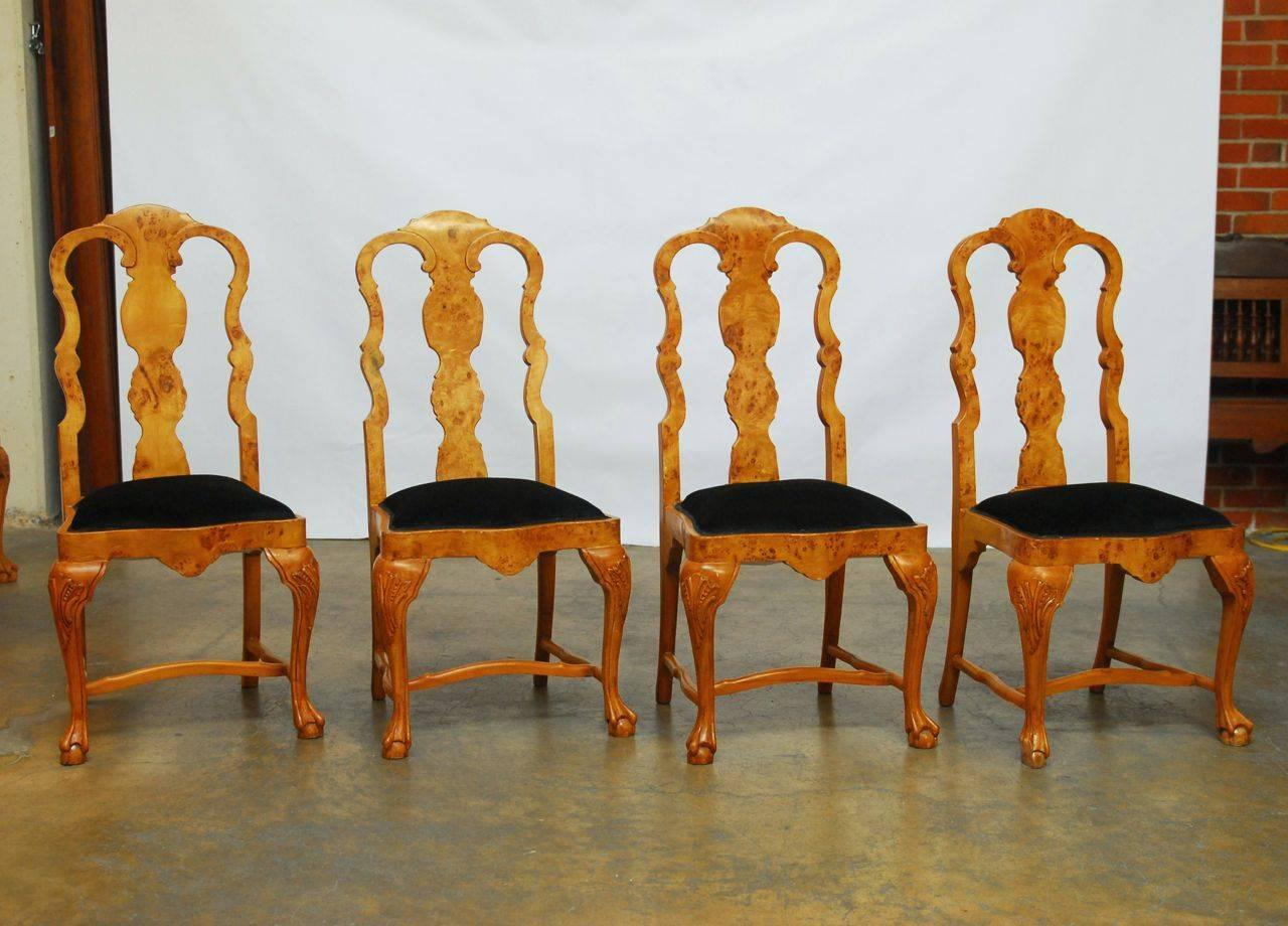 set of eight burl wood queen anne dining chairs at 1stdibs