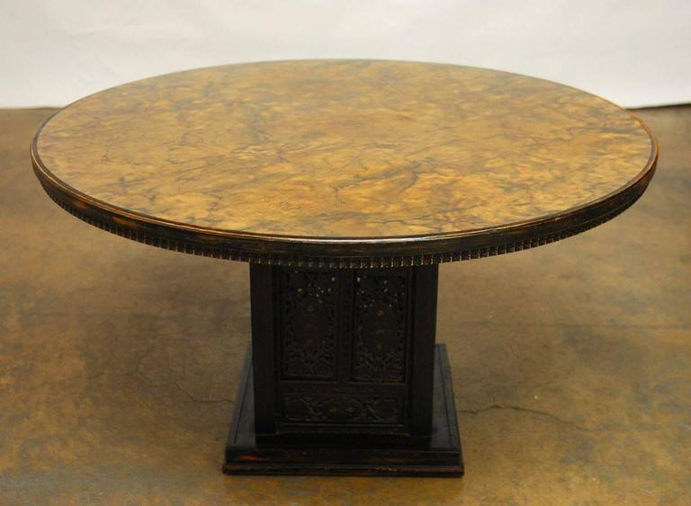mid century modern round pedestal table by ritts at 1stdibs. Black Bedroom Furniture Sets. Home Design Ideas