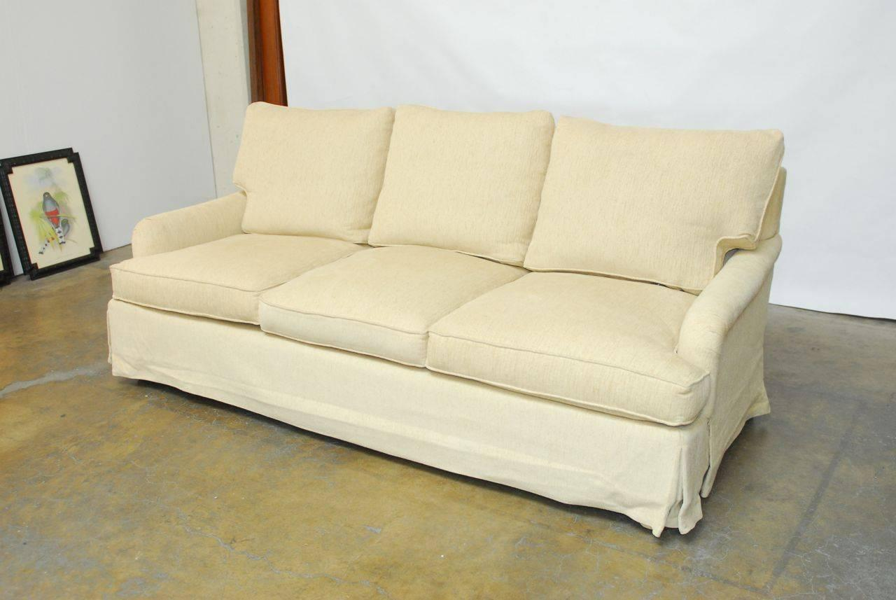English arm chenille sofa at 1stdibs for Sofa vs couch english