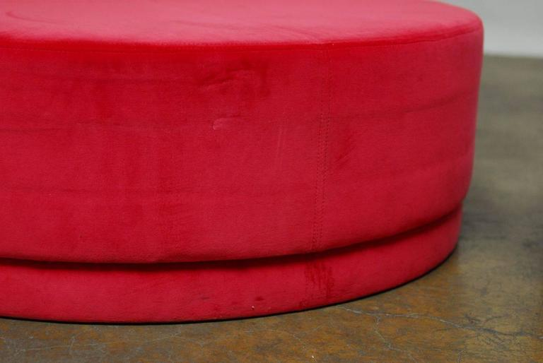Pair Of Pink Fuchsia Pill Shaped Velvet Ottomans At 1stdibs