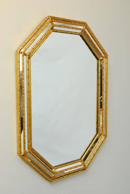 Mid-Century Labarge Octagonal Faux Bamboo Mirror For Sale at 1stdibs
