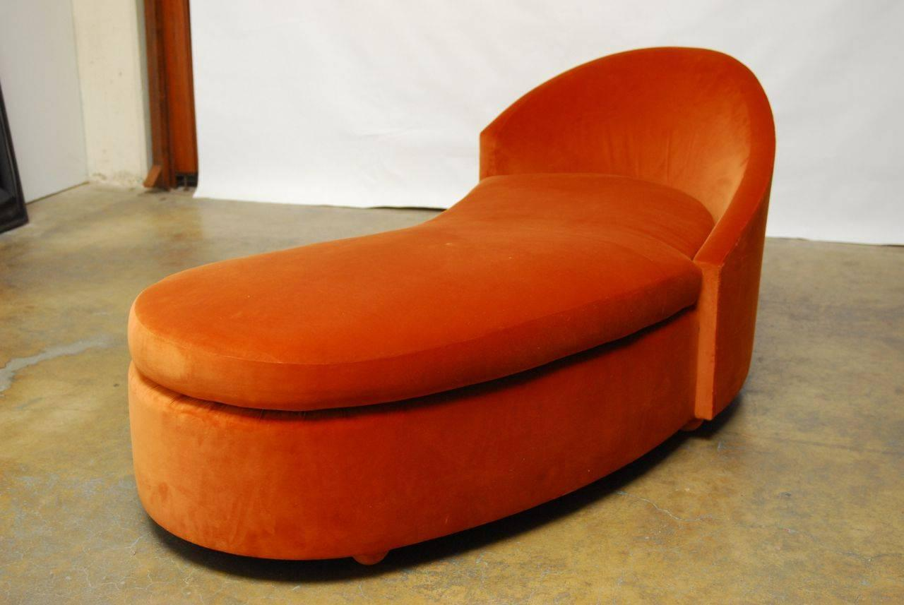 Pair Of Orange Crush Velvet Vladimir Kagan Style Cloud