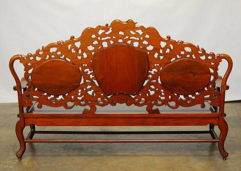 Chinese Rosewood And Marble Dali Carved Sofa Bench For Sale 3
