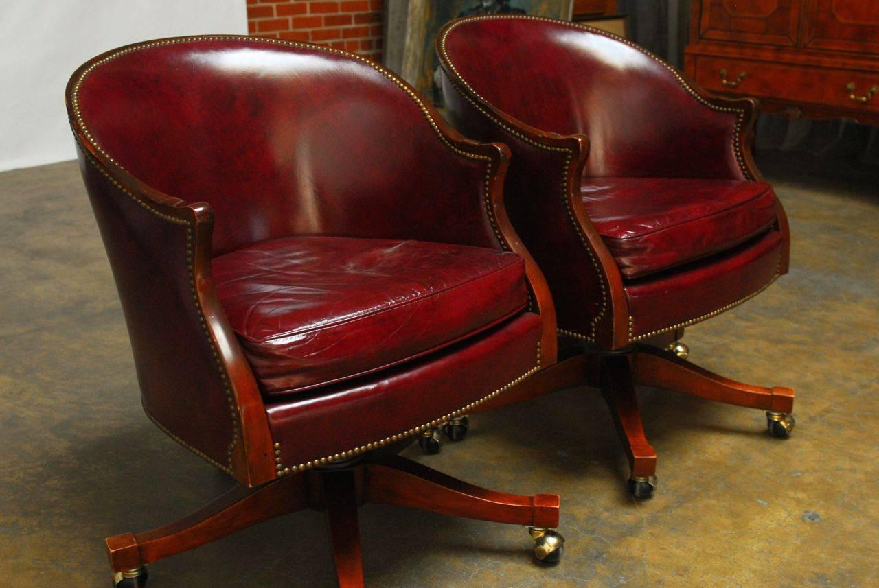 Pair Of Baker Leather Barrel Back Office Chairs At 1stdibs