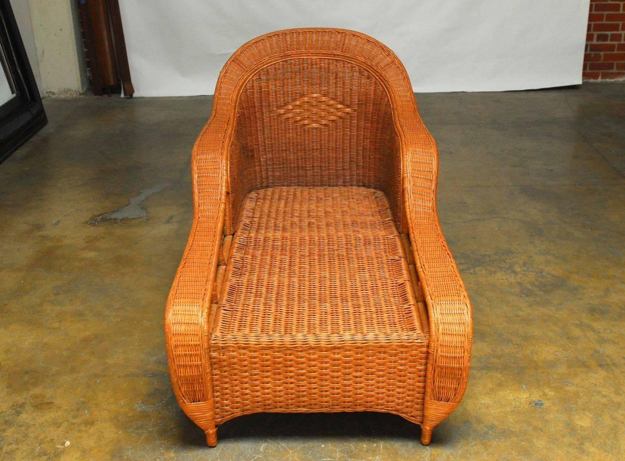French style wicker chaise longue by palecek for sale at for Chaise longue rattan sintetico