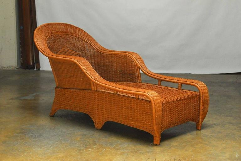 French style wicker chaise longue by palecek for sale at for Chaise bentwood