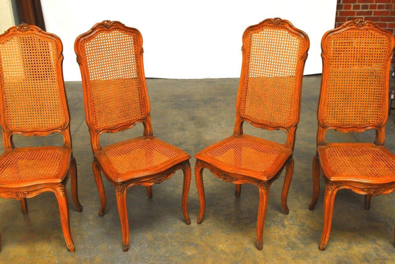 Set Of Four French Louis XV Style Cane Dining Chairs For