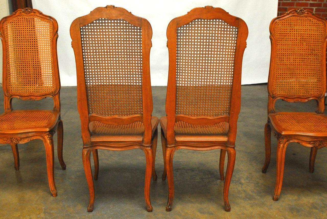 Set Of Four French Louis XV Style Cane Dining Chairs For Sale At 1stdibs