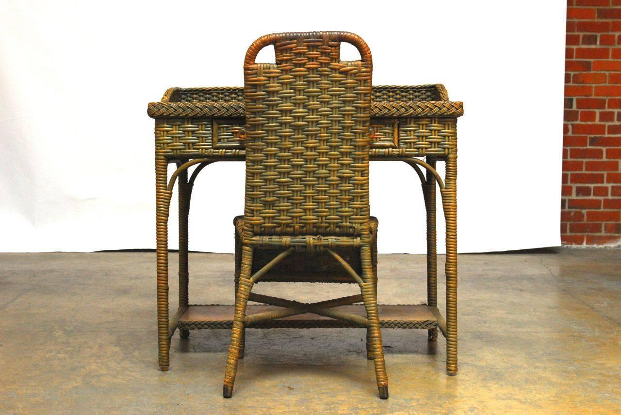 French Wicker Writing Table Desk And Chair For Sale At 1stdibs