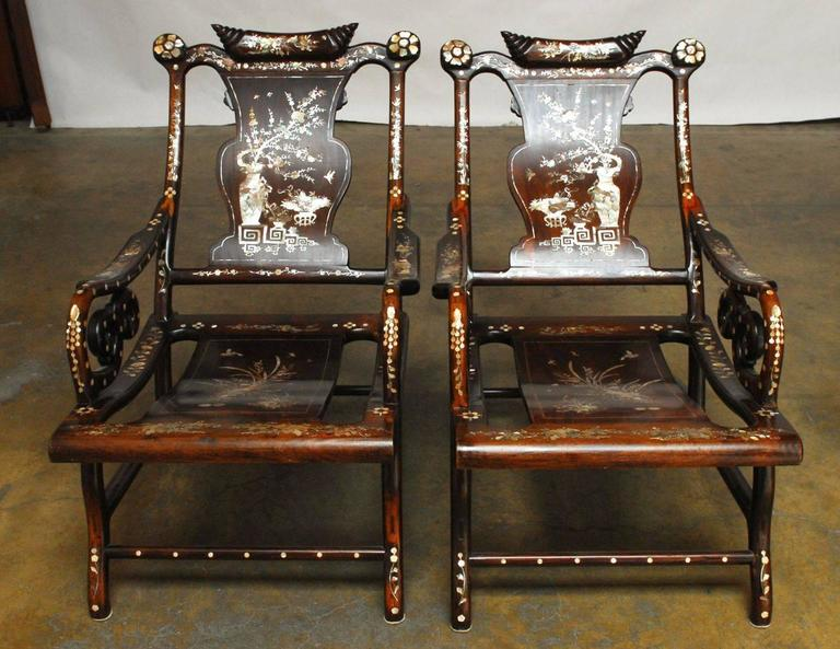 Chinese Export Pair Of Rosewood Lounge Chairs With Mother Pearl Inlay For