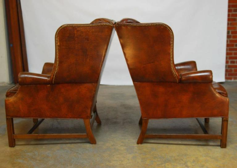Fine Pair Of Marbled Leather Wingback Chairs By Schafer Bros At Machost Co Dining Chair Design Ideas Machostcouk