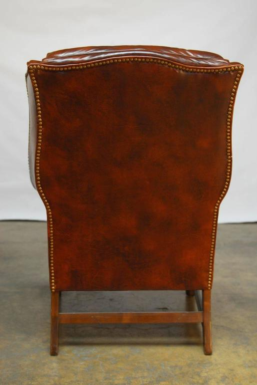 Swell Pair Of Marbled Leather Wingback Chairs By Schafer Bros At Machost Co Dining Chair Design Ideas Machostcouk