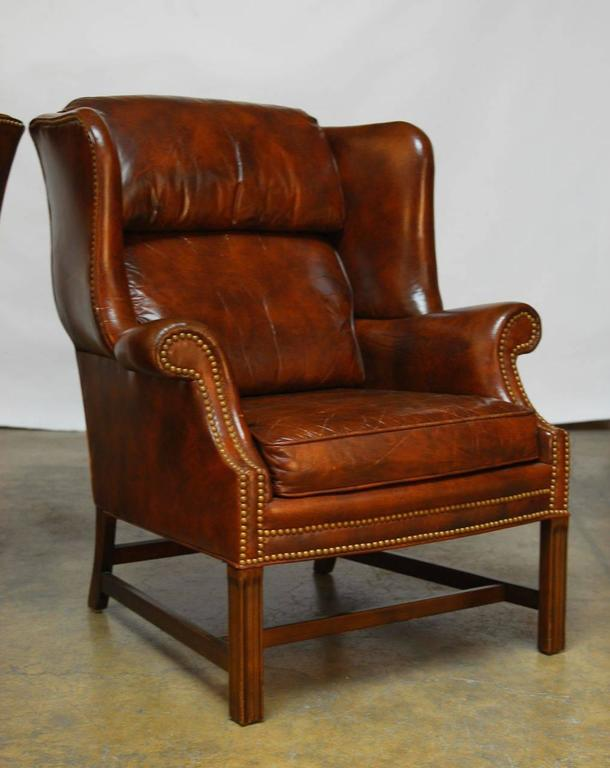 Pair Of Marbled Leather Wingback Chairs By Schafer Bros At
