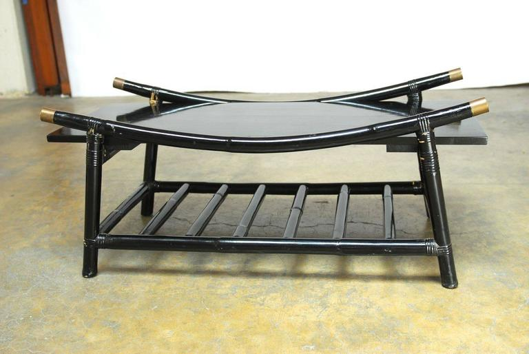 American Black Lacquer Rattan Coffee Table and Side Table, Attributed to Ficks Reed For Sale