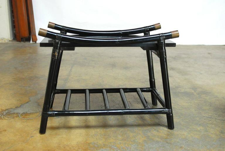 Hand-Crafted Black Lacquer Rattan Coffee Table and Side Table, Attributed to Ficks Reed For Sale