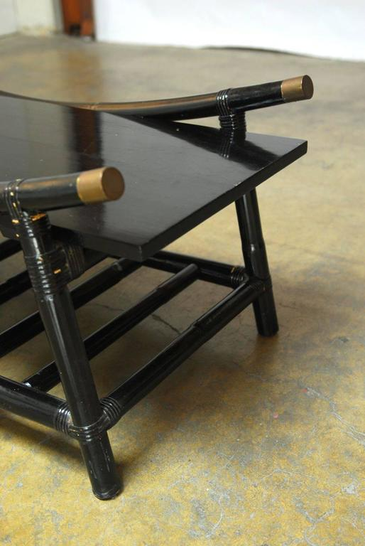 Black Lacquer Rattan Coffee Table and Side Table, Attributed to Ficks Reed In Excellent Condition For Sale In Oakland, CA