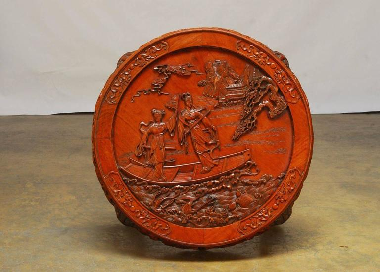 Round Chinese Carved Rosewood Tea Table With Nesting
