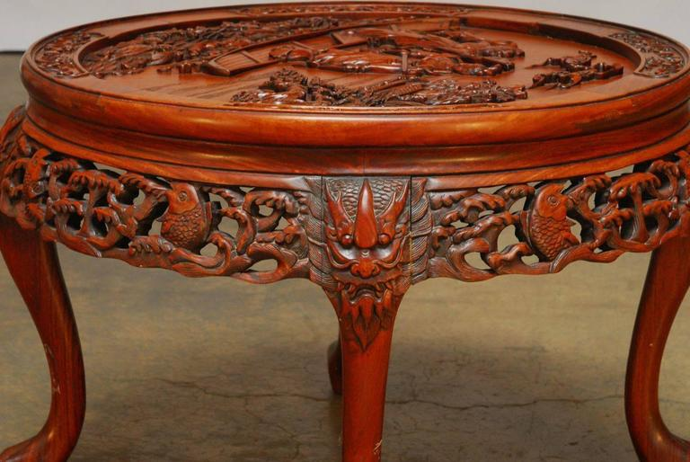 Round Chinese Carved Rosewood Tea Table With Nesting Stools