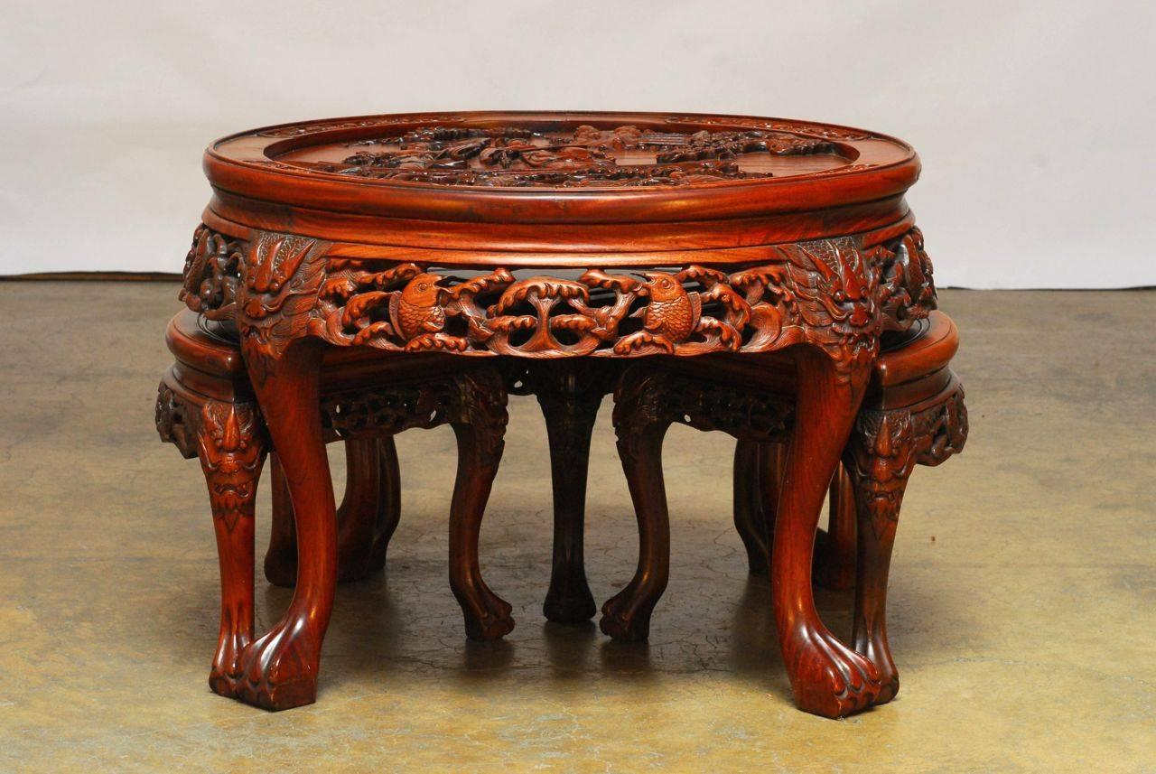 Chinese Carved Coffee Table With Stools