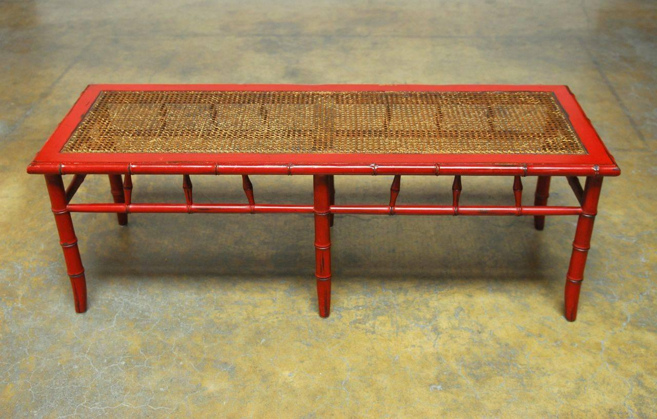 Red Lacquer Faux Bamboo Cane Bench At 1stdibs