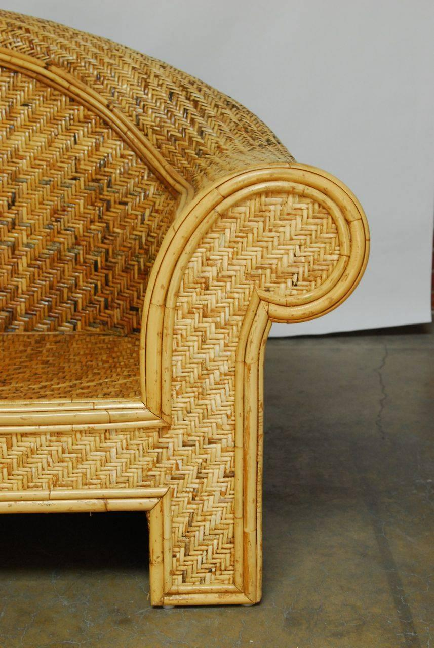 Woven Rattan And Bamboo Sofa In The Manner Of Ralph Lauren