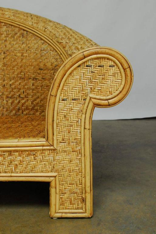 Woven Rattan And Bamboo Settee In The Manner Of Ralph