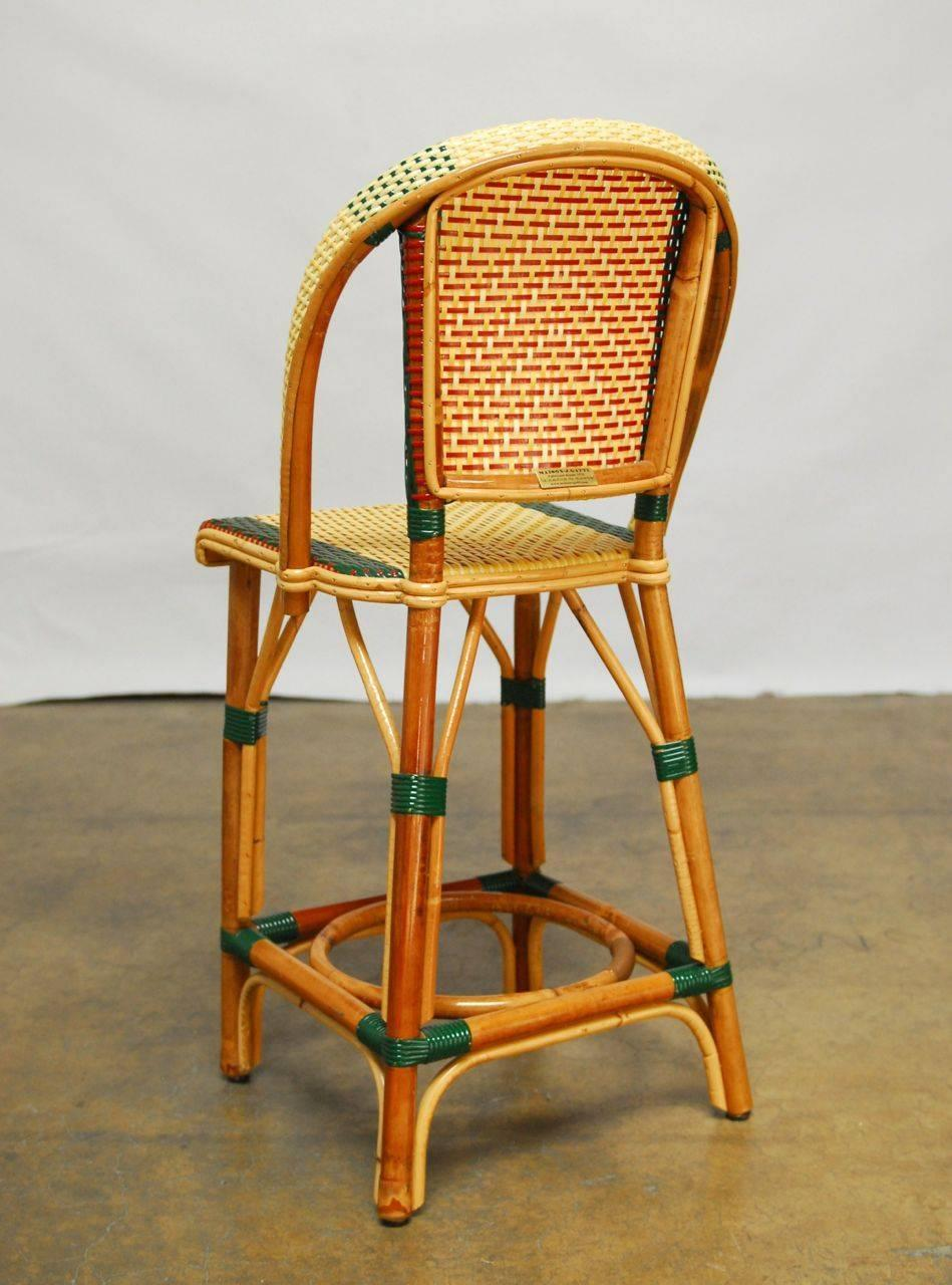 Pair Of French Rattan Maison Gatti Bistro Bar Stools At