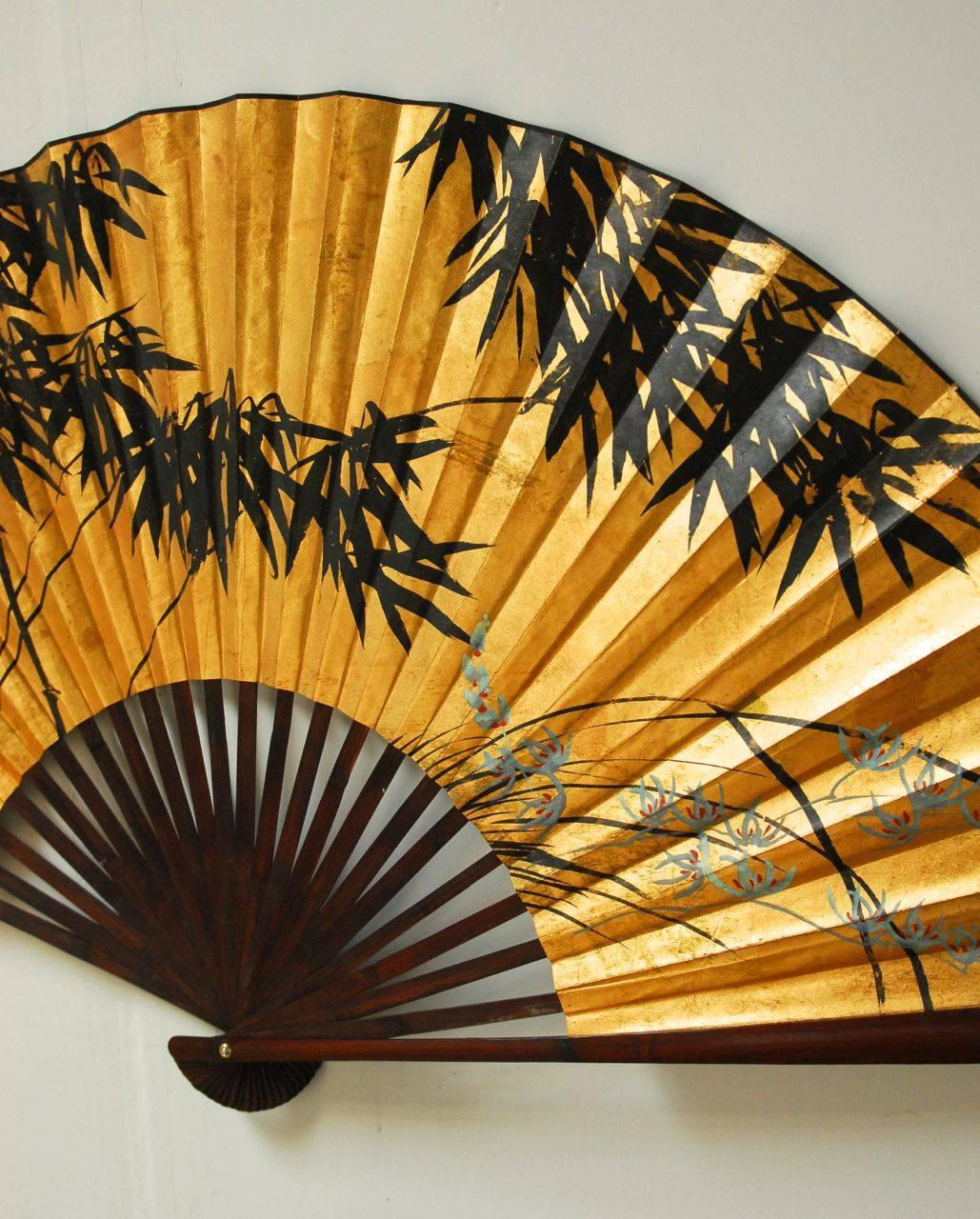 Gilt Painted Japanese Folding Wall Fan At 1stdibs