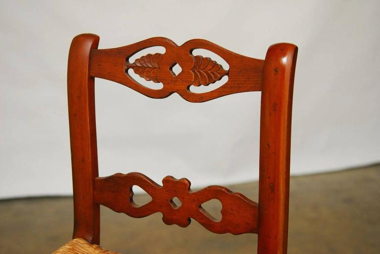 Hand-Carved Set of Six Welsh Carved Rush Bar Stools For Sale