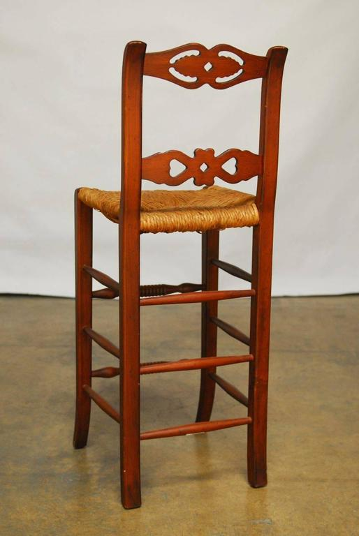 Set of Six Welsh Carved Rush Bar Stools In Good Condition For Sale In Rio Vista, CA