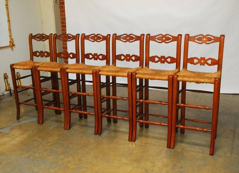Country Set of Six Welsh Carved Rush Bar Stools For Sale